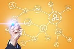 IOT Διαδίκτυο των πραγμάτων Αυτοματοποίηση και σύγχρονη έννοια τεχνολογίας Στοκ Εικόνα