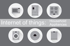 IoT - εικονίδια εγχώριων συσκευών Στοκ εικόνα με δικαίωμα ελεύθερης χρήσης