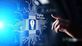 Ψηφιακή διάσπαση Αποδιοργανωτικές επιχειρησιακές ιδέες IOT, δίκτυο, έξυπνη πόλη, μεγάλα στοιχεία, σύννεφο, analytics, ΤΠ Ιστός-κλ στοκ εικόνες