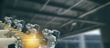 Iot bransch 4 0 teknologibegrepp Smart fabrik genom att använda tendera robotic armar för automation med delen på transportbandet royaltyfri bild