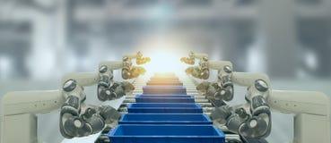 Iot bransch 4 0 teknologibegrepp Smart fabrik genom att använda tendera robotic armar för automation med delen på transportbandet arkivbild