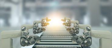 Iot bransch 4 0 teknologibegrepp Smart fabrik genom att använda tendera robotic armar för automation med delen på transportbandet arkivbilder