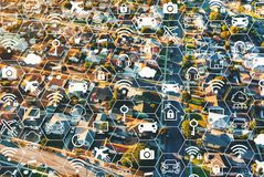 IoT concept with residential area of LA royalty free illustration