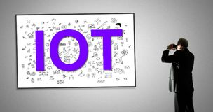 Iot concept on a whiteboard Royalty Free Stock Photo