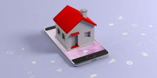 IOT, concetto domestico astuto Casetta su un telefono cellulare, fondo blu con i segni dei apps illustrazione 3D illustrazione vettoriale
