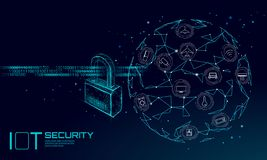 IOT cyber security padlock concept. Personal data safety Internet of Things smart home cyber attack. Hacker attack. Danger firewall innovation system vector stock illustration