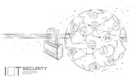 IOT cyber security padlock concept. Personal data safety Internet of Things smart home cyber attack. Hacker attack. Danger firewall innovation system vector royalty free illustration