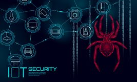 IOT cybersecurity spider concept. Personal data safety Internet of Things smart home cyber attack. Hacker attack danger. Firewall innovation system vector vector illustration