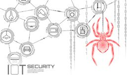 IOT cybersecurity spider concept. Personal data safety Internet of Things smart home cyber attack. Hacker attack danger. Firewall innovation system vector royalty free illustration