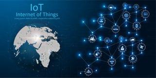 IOT, dispositivos y conceptos de la conectividad en una red, nube en el centro placa de circuito digital sobre la tierra del plan libre illustration
