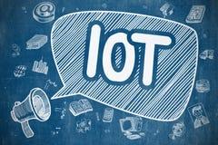 IOT - Doodle ilustracja na Błękitnym Chalkboard ilustracji