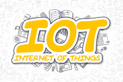 IOT - Doodle Yellow Text. Business Concept. Stock Images