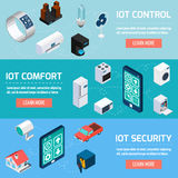 Iot household isometric banners set Stock Image