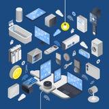 IOT-internet av isometrisk sammansättning för saker stock illustrationer
