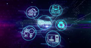 IOT-internet av sakerbegreppet med apparatsymboler