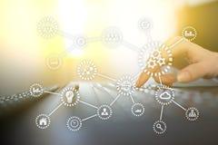 IOT Internet das coisas Automatização e conceito moderno da tecnologia ilustração stock