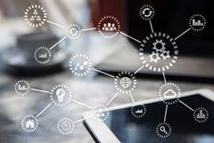 IOT Internet das coisas Automatização e conceito moderno da tecnologia ilustração do vetor