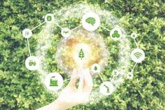 Iot, Internet das coisas, conceito da agricultura do fazendeiro, exploração agrícola esperta com uso robótico do ai da inteligênc fotos de stock