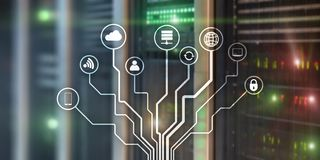 IOT Internet des choses Le r?seau de transmission de l'information Intelligence artificielle Banni?re de site Web Fond de Datacen illustration de vecteur