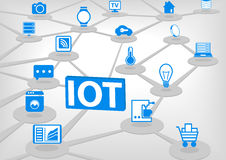 IOT (internet of everything)  illustration. 3D connection of various objects and devices. Blue icons on light grey background Stock Images