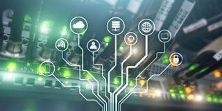 IOT Internet rzeczy Ewidencyjna sie? komunikacyjna sztuczna inteligencja Strona internetowa sztandar Datacenter royalty ilustracja