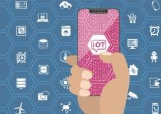IOT, internet rzeczy pojęcie z ręki mienia bezel/uwalniają smartphone Symbole i bezszkieletowy pokaz jako ilustracja Obraz Royalty Free