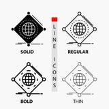 IOT, internet, saker, av, global symbol i tunn, vanlig djärv linje och skårastil ocks? vektor f?r coreldrawillustration vektor illustrationer
