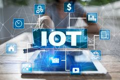IOT. Internet of Thing concept. Multichannel online communication network digital 4.0. Technology internet wireless application development mobile smartphone Stock Images