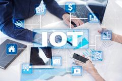 IOT. Internet of Thing concept. Multichannel online communication network digital 4.0. Technology internet wireless application development mobile smartphone Royalty Free Stock Image