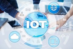 IOT. Internet of Thing concept. Multichannel online communication network digital 4.0. Technology internet wireless application development mobile smartphone Royalty Free Stock Images