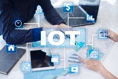 IOT. Internet of Thing concept. Multichannel online communication network digital 4.0. Technology internet wireless application development mobile smartphone Stock Photography