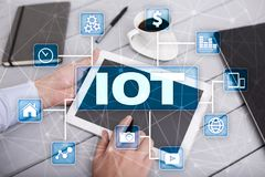 IOT. Internet of Thing concept. Multichannel online communication network digital 4.0 technology. Internet wireless application development mobile smartphone Royalty Free Stock Photos