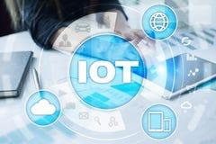 IOT. Internet of Thing concept. Multichannel online communication network digital 4.0 technology. Internet wireless application development mobile smartphone Stock Photos