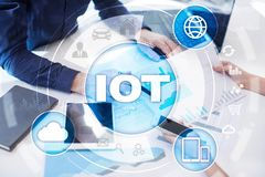 IOT. Internet of Thing concept. Multichannel online communication network digital 4.0 technology. Internet wireless application development mobile smartphone Royalty Free Stock Images