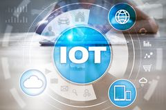 IOT. Internet of Thing concept. Multichannel online communication network digital 4.0 technology. Internet wireless application development mobile smartphone Royalty Free Stock Photography