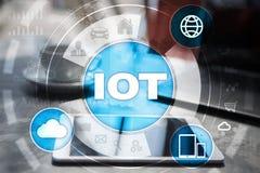 IOT. Internet of Thing concept. Multichannel online communication network digital 4.0 technology. Internet wireless application development mobile smartphone Stock Photo