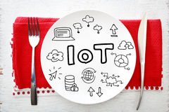 IOT - Internet of Things concept on white plate royalty free stock photos