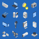 IOT Internet Of Things Isometric Icon Set. Colored IOT internet of things isometric icon set for Home and Office vector illustration vector illustration
