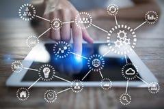 IOT Internet van Dingen Automatisering en modern technologieconcept royalty-vrije stock afbeelding