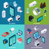 Iot 4 isometric icons square banner Stock Photo