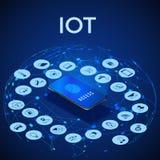 IOT isometric poj?cie Cyfrowego globalny ekosystem Monitorowanie i kontrola smartphone r?wnie? zwr?ci? corel ilustracji wektora ilustracja wektor