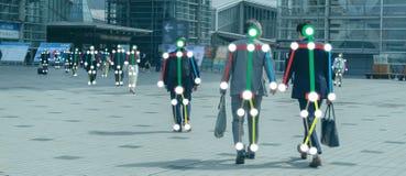 Iot-Lernf?higkeit einer Maschine mit Menschen und Objekterkennung, die k?nstliche Intelligenz zu Ma?-, analytischem und identisch lizenzfreie stockfotografie