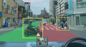 Iot mądrze automobilowy Driverless samochód z sztucznej inteligenci syndykatem z głęboką uczenie technologią jaźń napędowy samoch fotografia stock