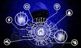 IOT och smart begrepp för hem- säkerhet royaltyfri bild