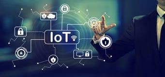 IoT ochrony temat z biznesmenem zdjęcie stock