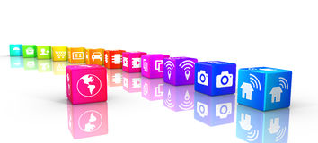 IOT rainbow cubes in a circle. Internet of things icons on rainbow colored cubes in a circle IOT 3D illustration Royalty Free Stock Photo