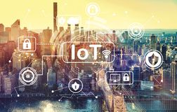 IoT security theme with aerial view of Manhattan, NY royalty free stock photography