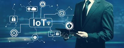 IoT security theme with businessman stock illustration