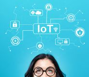 IoT security theme with young woman stock photos