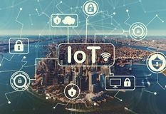 IoT security themewith aerial view of NY skyline vector illustration